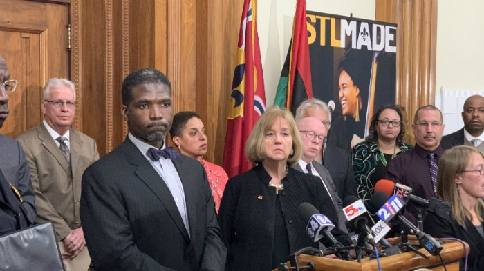 Dr. Fredrick Echols and Mayor Lyda Krewson, photographed on March 12 at news conference on COVID-19. - DOYLE MURPHY