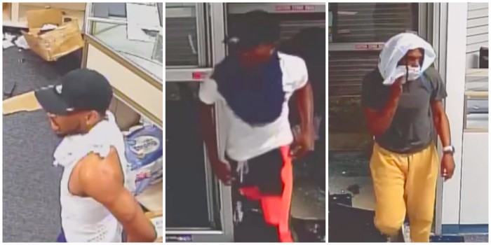 "Three of the seven ""persons of interest."" The man on the left, may have cut his hand on door glass. - SCREENGRAB"