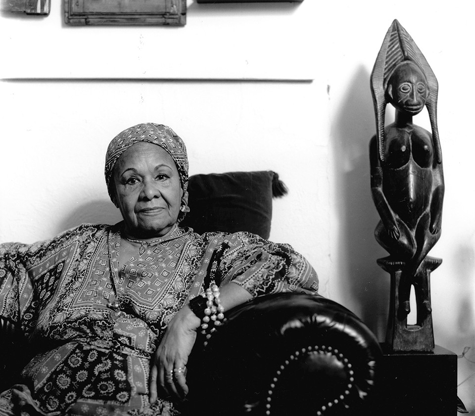 Katherine Dunham at home in East Louis in the mid 1980s. - MISSOURI HISTORICAL SOCIETY COLLECTIONS