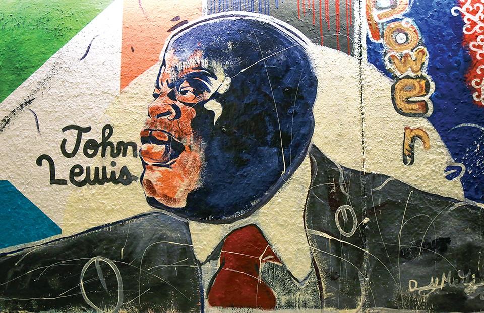 Danny McGinnist Jr.'s portrait of John Lewis. - NICHOLAS COULTER