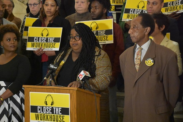 Action St. Louis Executive Director Kayla Reed speaking in January during the Close the Workhouse campaign. - DOYLE MURPHY