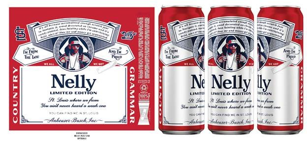 """Nelly Budweiser cans feature the Derrty Record label, a Cardinals logo and lyrics from Nelly's debut album, """"Country Grammar"""". - COMPLIMENTS OF ALLISON PR"""