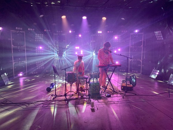 The Electric Toothbrush Sisters performing on Arch City Audio Visual's massive soundstage in March. - VIA  ARCH CITY AUDIO VISUAL