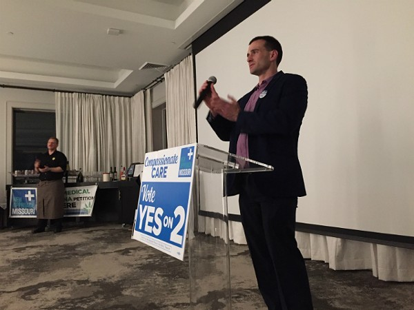 New Approach campaign manager John Payne announces the good news to supporters. - JAIME LEES