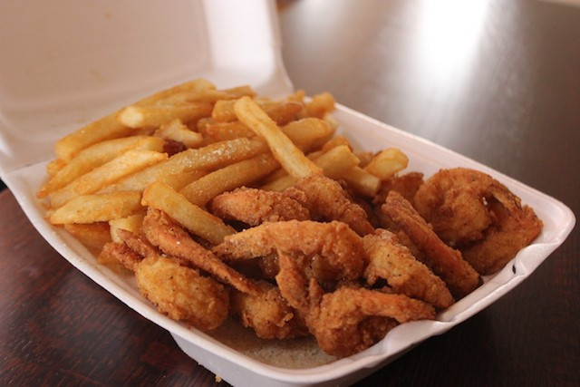 "Tasty Shack's ""small"" shrimp dinner contained sixteen plump shrimp, plus fries and a piece of bread, for $8.99. - PHOTO BY SARAH FENSKE"