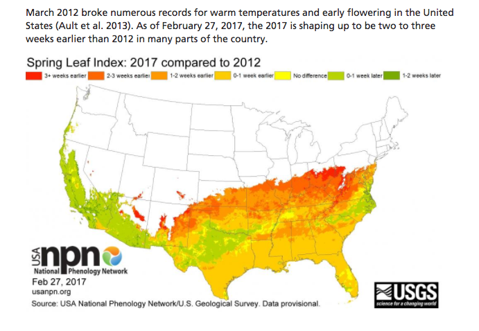 SOURCE: USA NATIONAL PHENOLOGY NETWORK, WWW.USANPN.ORG