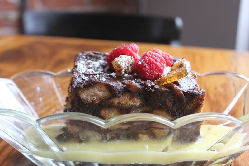 The dark chocolate and pretzel bread pudding — one of the top-selling desserts.