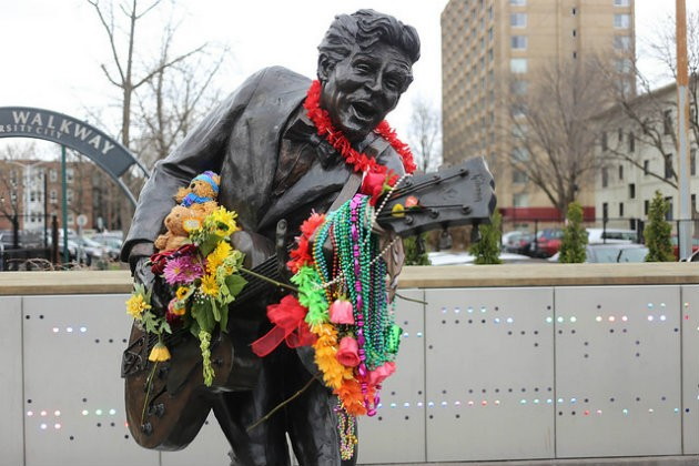 The Chuck Berry statue in the Delmar Loop has been turned into a memorial. - PHOTO COURTESY OF FLICKR / PAUL SABLEMAN.