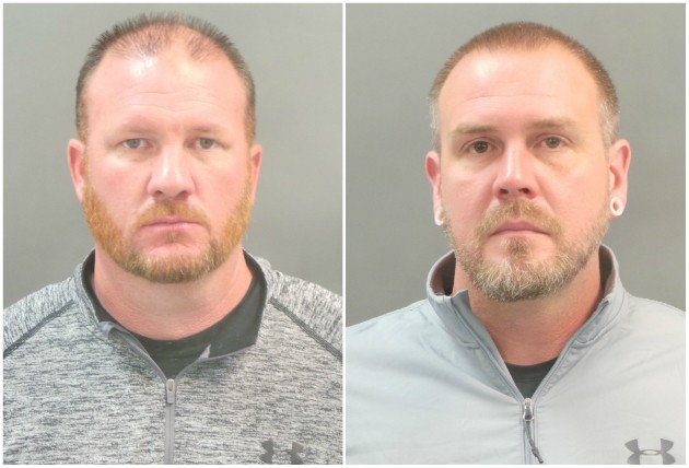 St. Louis police officers Brian Jost (L) and Michael Langsdorf were among four cops charged with forgery and stealing. - IMAGES VIA SLMPD