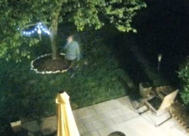 A prowler, shown in a surveillance video clip, spied on a woman in Wildwood, police say. - IMAGE VIA ST. LOUIS COUNTY POLICE