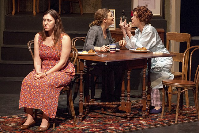 Matriarch Violet (far right, played by Kari Ely) has a cancer-stricken mouth and a fraught relationship with daughters Ivy (Emily Baker, left) and Barbara (Meghan Baker, center). - PHOTO BY JOHN LAMB