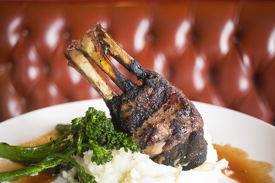 Coffee and chile-rubbed lamb with whipped potatoes, broccolini and bing cherry demi-glace. - PHOTO BY MABEL SUEN