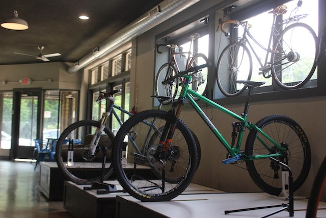 Some of Gerhardt's custom bikes are on display — and for sale. - PHOTO BY SARAH FENSKE