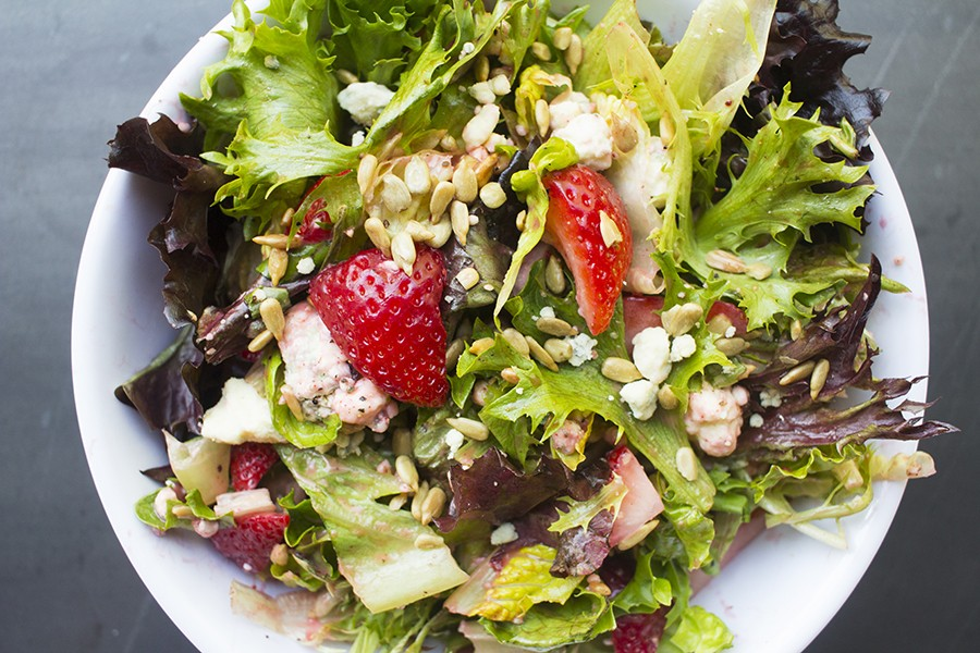 "The ""So Very Berry"" salad is filled with fresh strawberries. - PHOTO BY MABEL SUEN"