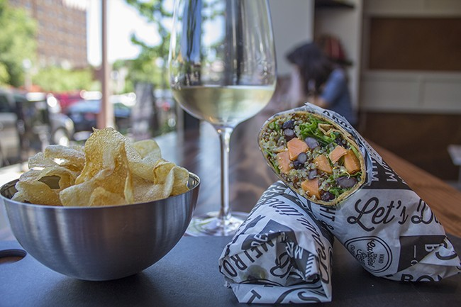 Handcrafted by Bissinger's quinoa wrap comes with a side of chips or fruit. - SARA BANNOURA