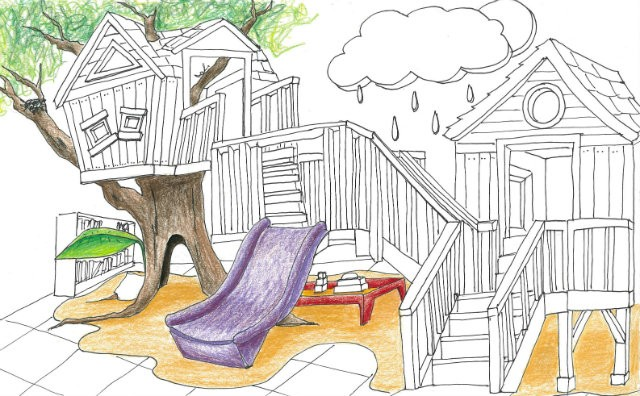 The sketch of the new family center includes a treehouse and a slide, among other activities, for kids under the age of 7. - MEGAN KING-POPP