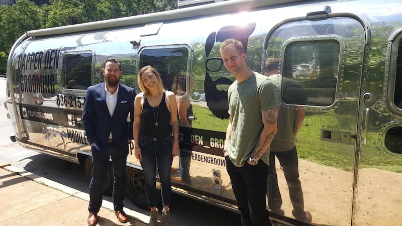 From left, Dapper Den's co-owner and product developer Jesse Goins, stylist Cali Spencer and co-owner and barber Frankie Petrillo. - ALLISON BABKA