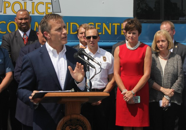 Gov. Eric Greitens pledges state troopers to patrol highways in St. Louis. - PHOTO BY DOYLE MURPHY