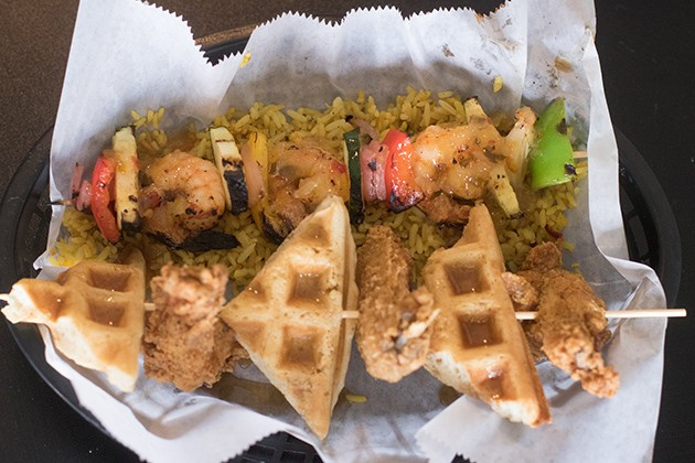 "The ""Chicken and Waffle"" kabob, accompanied by a shrimp and veggie version. - PHOTO BY TAYLOR VINSON"