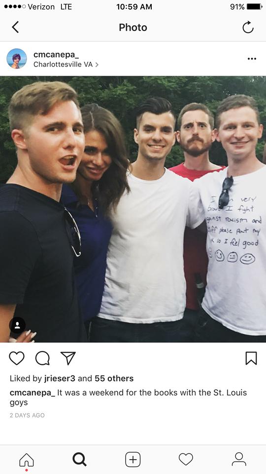 Clark Canepa, center, in a Charlottesville Instagram post with Zach Morley, far left. - IMAGE VIA INSTAGRAM