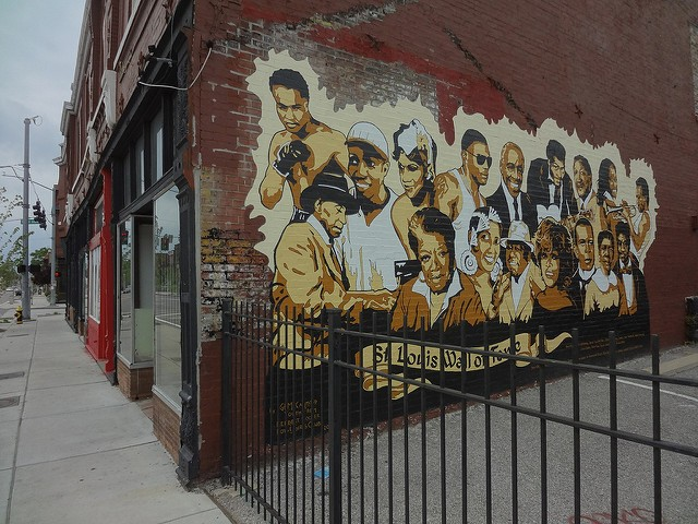 The previous mural depicted black St. Louisans. - PHOTO COURTESY OF FLICKR/PAUL SABLEMAN
