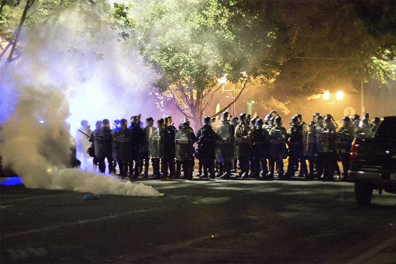 Police dropped tear gas canisters in the Central West End around 10 p.m. on Friday, September 15. - PHOTO BY DANNY WICENTOWSKI