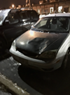A photo of Michelle Conway's car, taken after the windshield was repaired.