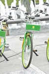 Bikes provided by Ofo and LimeBike as a part of the new bike share program in St. Louis