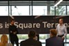 """Jack Dorsey, left, and Jesse Dorogusker unveil the Square Terminal, Square's latest development in payment processing devices. Square, """"is a company focused on economic empowerment,"""" Dorogusker says."""