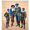 Bisa Butler. <i>Black Star Family, first class tickets to Liberia</i> (2018). 85 x 79 inches. Cotton, silk and denim. Courtesy of artist and Claire Oliver Gallery