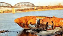 Graffiti Artists Tag U.S.S. Inaugural as River Waters Recede