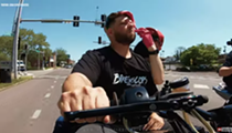 St. Louis Maniac Gets Straight Razor Shave and Haircut While Riding a Harley