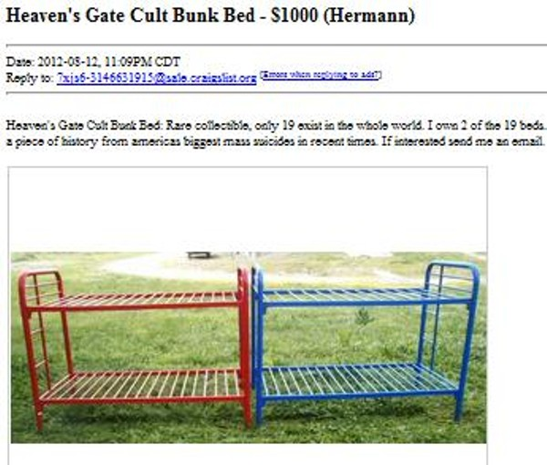 Bunk Beds From Mass Suicide For Sale On St Louis