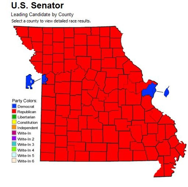 Voting Maps Show Political Divide in Missouri; St. Louis and Kansas City vs. Everyone Else ...