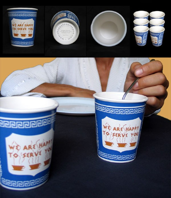"""*NEW* New York City /""""We Are Happy to Serve You/"""" Ceramic Greek Coffee Cup"""