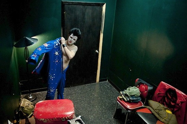 Clownvis Presley Prepares in the Green Room at the ...