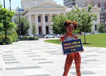 Half-Naked Woman Protests Circus for PETA