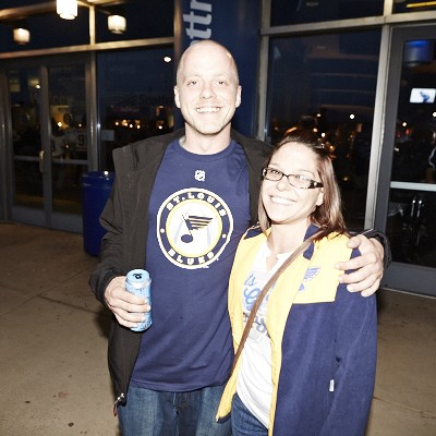 The Best St. Louis Blues Fans at the 2014-2015 Season Opener