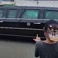 Feisty Little Scamp in Taz Hat Flips Off Trump Motorcade in Granite City