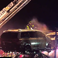 Watch Tens of Thousands of Dollars' Worth of Cars Burn on Back of a Trailer on I-270