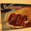 SWANSON BONELESS PORK RIB SHAPED PATTY IN BARBECUE SAUCE WITH MASHED POTATOES, CORN & A BROWNIE
