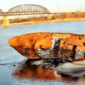 Graffiti Artists Tag U.S.S. Inaugural as River Waters Recede