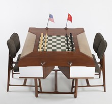 Chess Table from the 1966 Havana, Cuba, Chess Olympiad. 1966. Wood, leather, fabric, and marble. Collection of the U.S. Chess Trust.