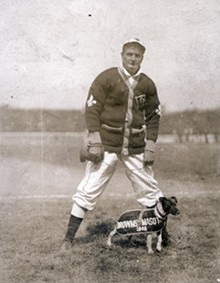 St. Louis Browns' pitcher Rube Waddel with the team mascot in 1909.