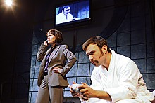 Lavonne Byers and Rusty Gunther in - HotCity Theatre's The Dead Guy.