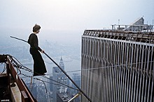 ©2008 JEAN-LOUIS BLONDEAU / POLARIS IMAGES - Phiippe Petit defies gravity, sanity and World Trade Center security.