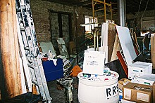 The OTLA exhibition space was chock-a-block with construction materials when artists arrived.