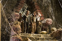 Hey, anyone seen a decent script around here?: Ray Winstone, Shia LaBeouf and Harrison Ford in Crystal Skull.