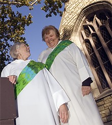 JENNIFER SILVERBERG - Everyones welcome in the new Catholic church started by McGrath (left) and Hudson.