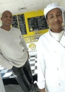 JENNIFER  SILVERBERG - Healthy Lifestyles: Denise Hairston (right, with Patrick Steptoe) cooks up savory soul food.
